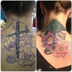 neck tattoo traditional butterfly before and after cover up