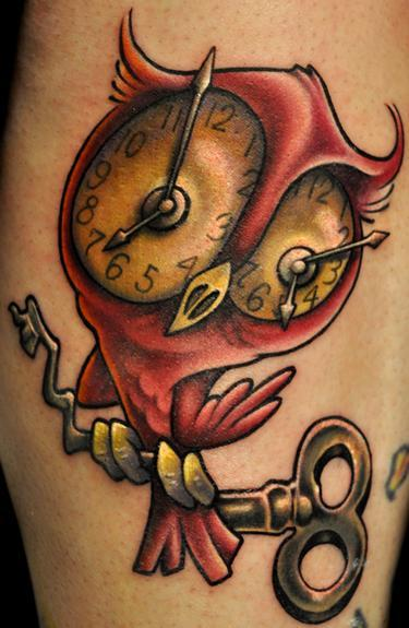 owl-tattoos-clock |