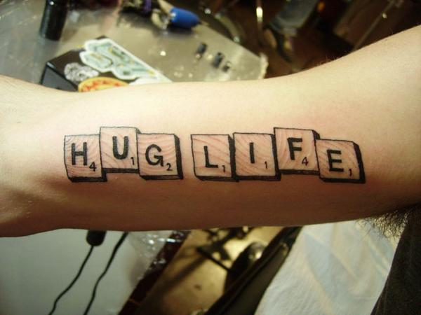 tattoo lettering hug life scrabble tattoo love