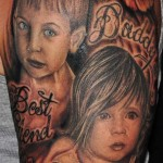 Baby Half Sleeve Portrait Tattoo Designs