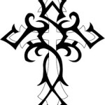 Black And White Tribal Cross Pattern Tattoo Designs