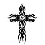 Black Tribal Cross Pattern  Tattoo Designs