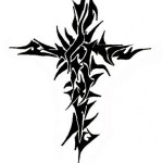 Black Tribal Cross Tattoo Designs