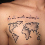Chest Creative World Map Tattoo Designs