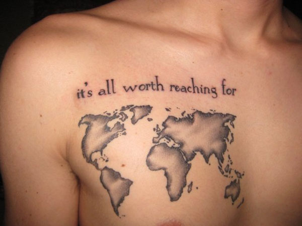 Chest creative world map tattoo designs tattoo love chest creative world map tattoo designs gumiabroncs Choice Image
