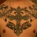 Chest Tribal Cross Tattoo Designs