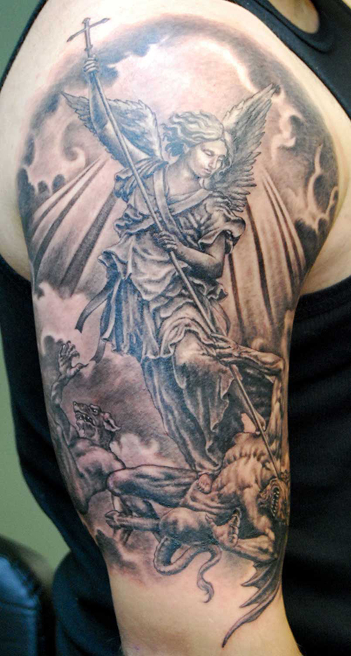 classic half sleeve guardian angel tattoo designs tattoo
