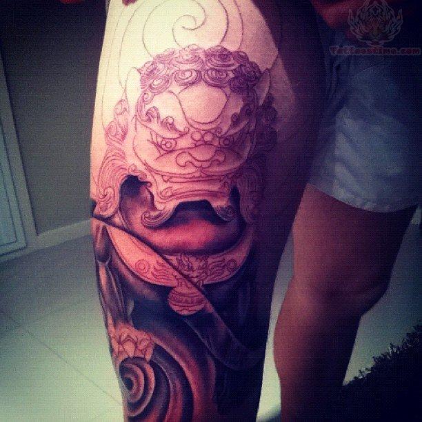 Dog tattoo leg tattoo designs for men tattoo love for Thigh tattoo designs for men
