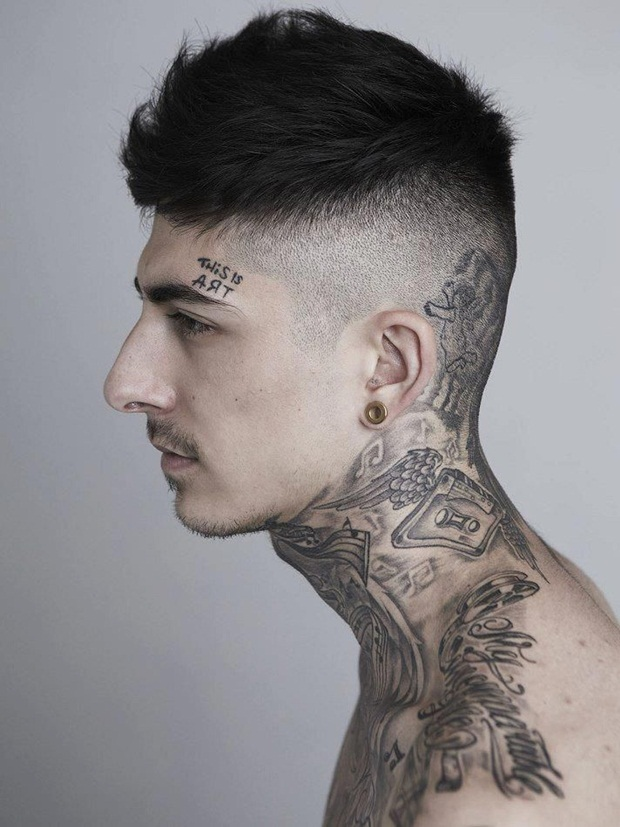 Neck tattoos tattoo love for Chest and neck tattoos