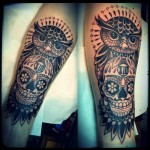 Owl And Skull Leg Tattoo Designs For Men