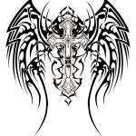 Pattern Tribal Cross Wings Tattoo Designs
