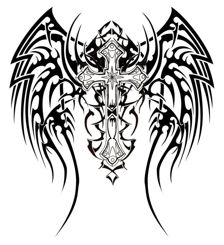 732   215  800 in Best Tribal Cross Tattoo Designs       Previous NextTribal Cross With Tribal Wings