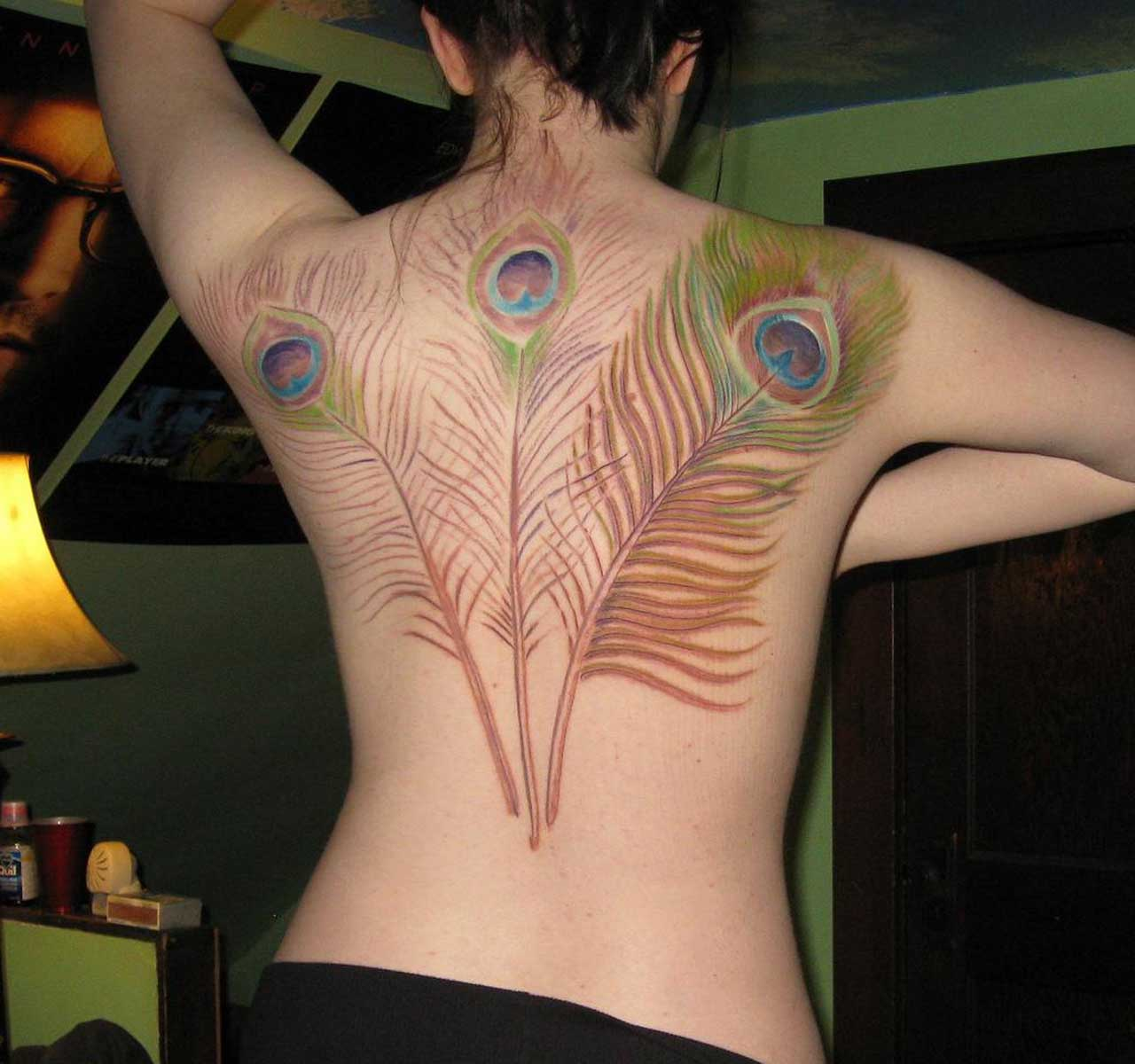 Sexy Feather Back Tattoo Designs