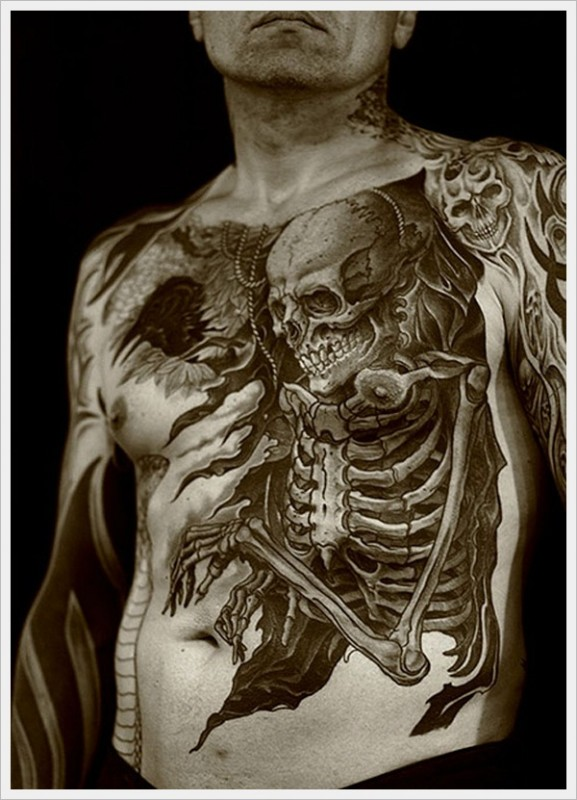 Skull creative full body tattoo designs tattoo love for Skull love tattoos