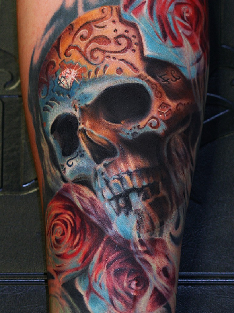 Skull tattoos colour tattoo love for Skull love tattoos