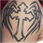 Tribal Cross Tattoo Designs For Mens Shoulder