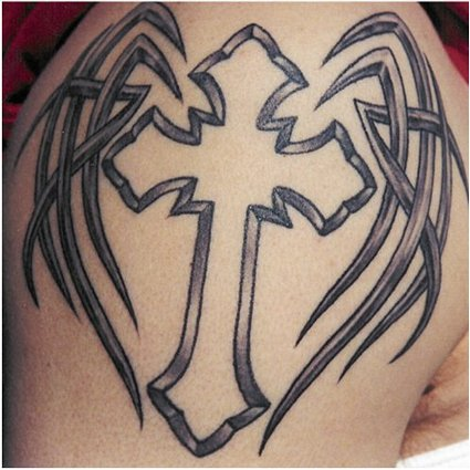 tribal cross tattoo designs for mens shoulder tattoo love. Black Bedroom Furniture Sets. Home Design Ideas