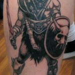 Warrior Leg Tattoo Designs For Men