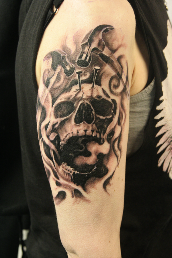 Skull tattoo with hammer tattoo love for Skull love tattoos