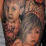 Baby Half Sleeve Portrait Tattoo Designs