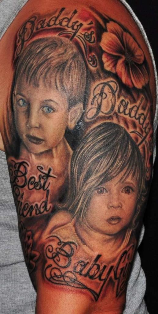 baby half sleeve portrait tattoo designs tattoo love. Black Bedroom Furniture Sets. Home Design Ideas