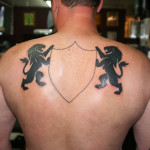 Back Lion Black Tattoo Designs For Men