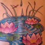 Back Lotus Flower In Water Tattoo Designs