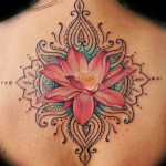 Beautiful Pink Lotus Flower Tattoo Designs