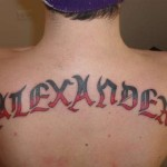 Big Back Name Tattoo Designs For Men