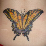 Big Butterfly Lower Back Tattoo Designs