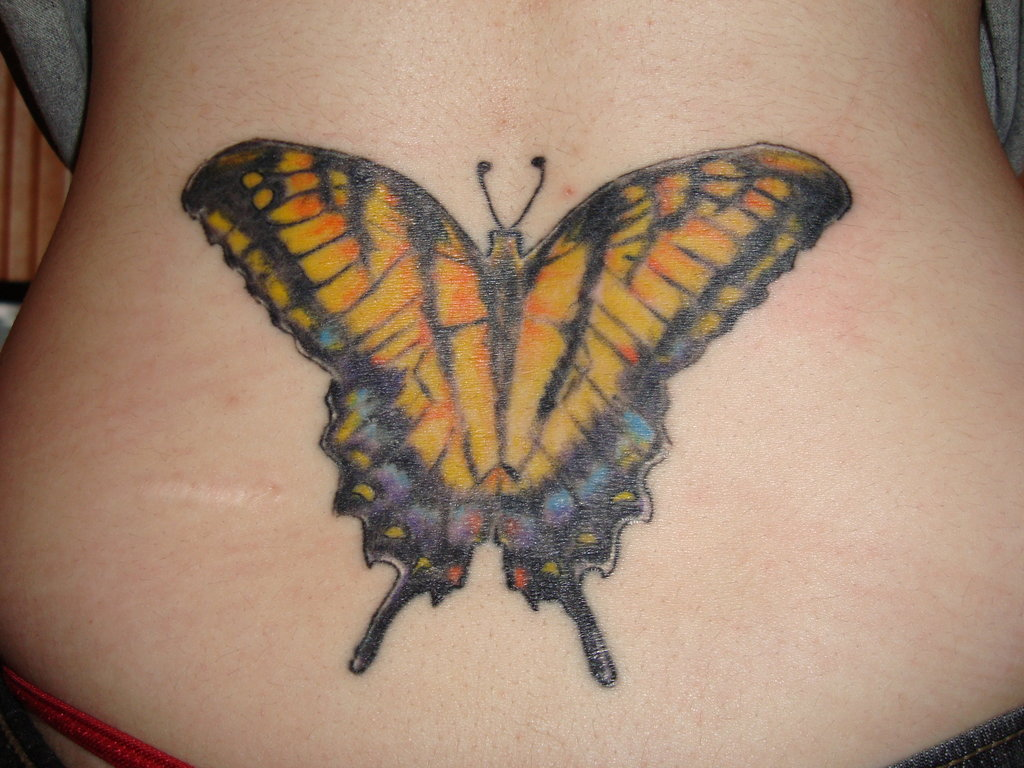 big butterfly lower back tattoo designs tattoo love. Black Bedroom Furniture Sets. Home Design Ideas