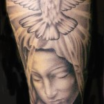 Black And Gray Full Sleeve Religious Tattoo Designs For Men