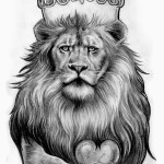 Black And White Lion Cool Tattoo Designs For Men