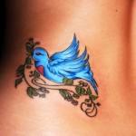 Blue Bird Lower Back Tattoo Designs