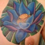 Blue Lotus Flower Tattoo Designs On Chest