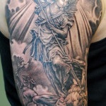 Half sleeve tattoo designs for men tattoo love for Guardian angel half sleeve tattoos