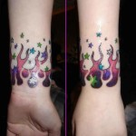 Colortful Wrist Tattoo Designs For Girls