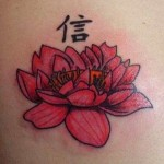 Cool Red Lotus Flower Tattoo Designs