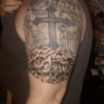 Cross Half Sleeve Religious Tattoo Designs