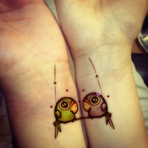 cute parrots wrist tattoo designs tattoo love. Black Bedroom Furniture Sets. Home Design Ideas