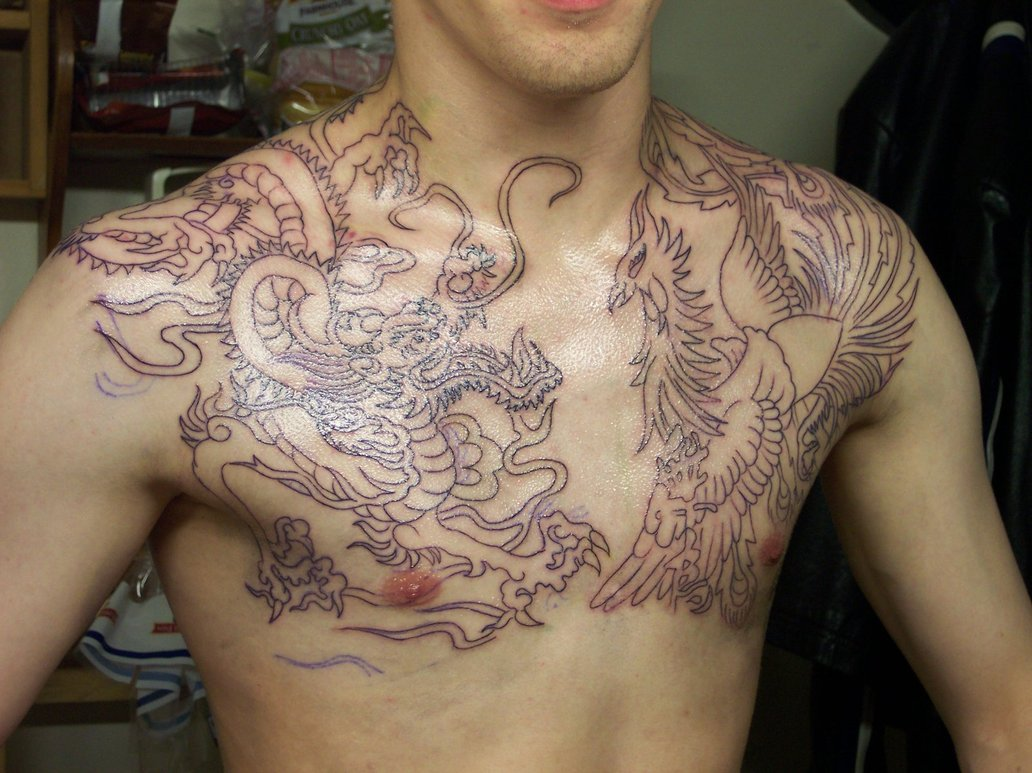 Chest tattoo designs for men - Dragon Chest Tattoo For Men