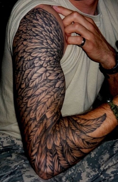 Feather full sleeve tattoo designs for men tattoo love for Male sleeve tattoo ideas
