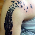 Feather Shoulder Tattoo Designs For Women