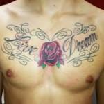 Flower Chest Tattoo For Men