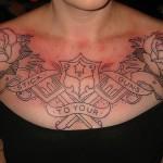 Flower Cool Chest Tattoo For Men
