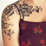 Flower Shoulder Tattoo Designs For Women