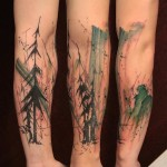 Fog Forest Arm Tattoo Designs