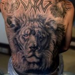 Full Back  Lion With Tribal Tattoo Designs For Men