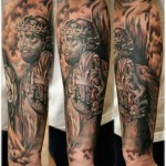 Full Sleeve Unique Religious Tattoo Designs For Men