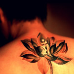 Gold Lotus Flower Upper Back Tattoo Designs